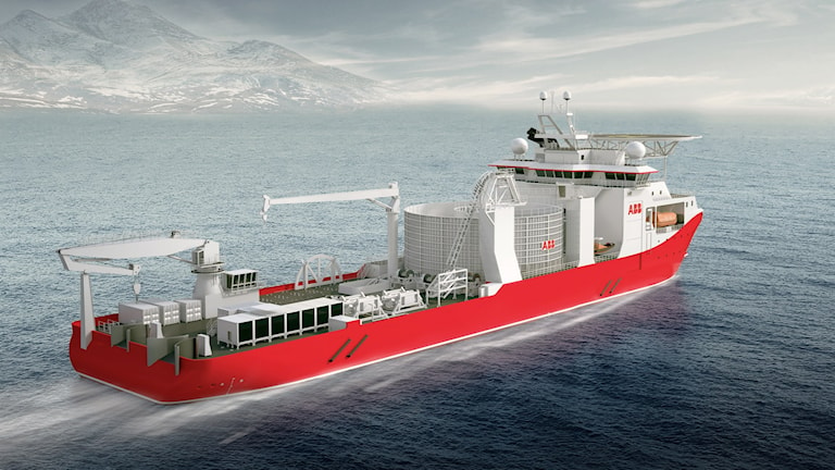 En modell av hur ABB:s kabelläggningsfartyg ska se ut. Modell: ABB.