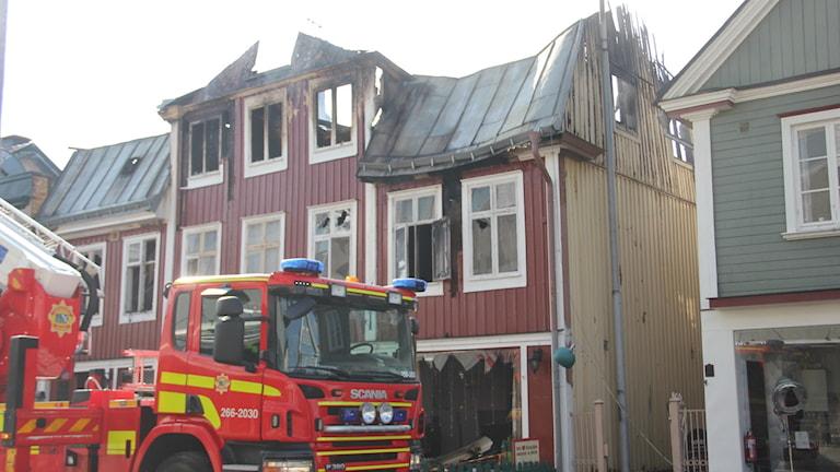 Det totalförstörda huset. Foto: Mikael Eriksson/Sveriges Radio Blekinge