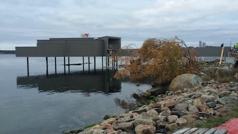 Kallbadhuset i Vägga från sidan. Foto: Lena König/Sveriges Radio