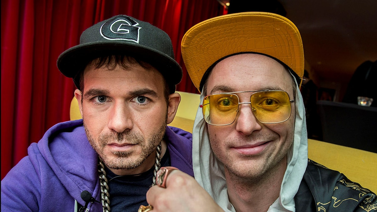 Hiphopduon Far & Son, bestående av Simon Gärdenfors och Frej Larsson. Foto: Jonas Ekströmer/TT