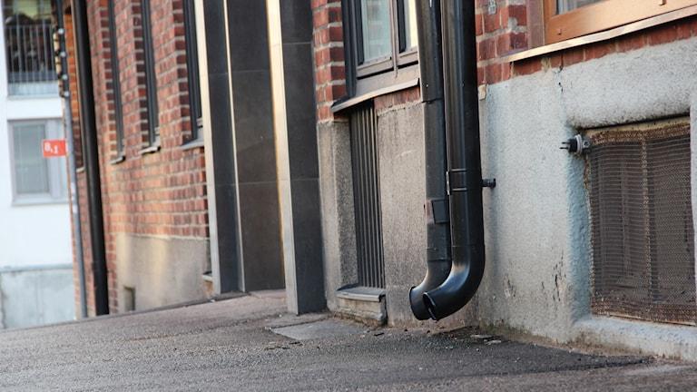 En bild på gatan och porten där källarutrymmet finns. Foto: Stina Linde/Sveriges Radio.