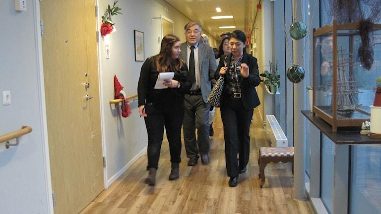 Flera personer går i en korridor. Foto: Sarah Rätzer/SR.