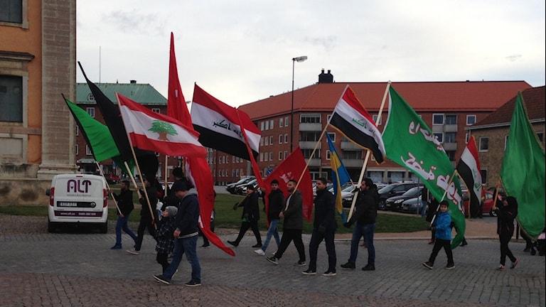 Manifestation mot våld och terror i Karlskrona. Foto: Johan Svensson/ Sveriges Radio.
