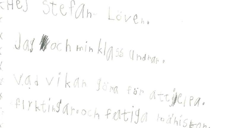 Från ett av försteklassarnas brev till statsministern.