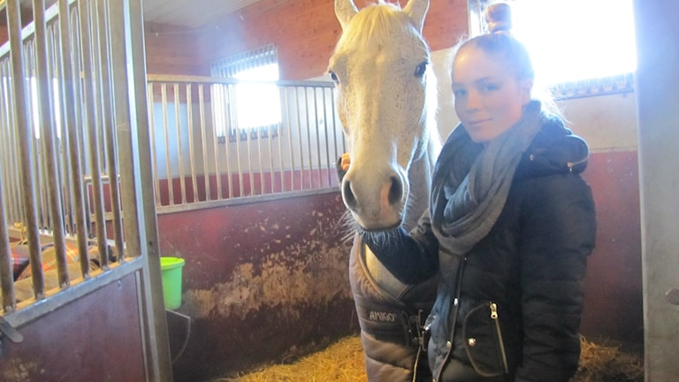 Tilde står inne i hästboxen och klappar C-ponnyn Pigalle.