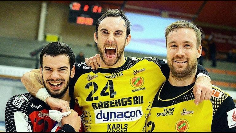 Mario, jag och Lars efter matchen mot Skövde!  Fotograf Torbjörn Sunesson