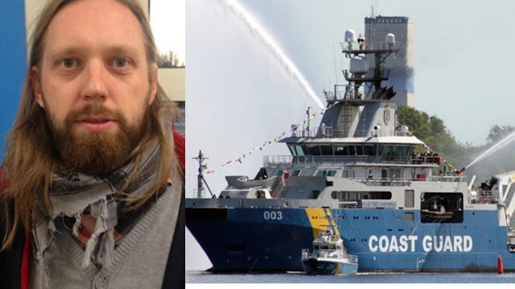 Joakim Lagergreén från den fackliga organisationen TULL-kust. Foto: Sveriges Radio/Kustbevakningen.