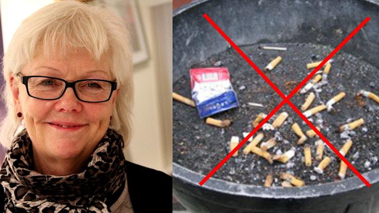Ett kollage med rökavvänjaren Lisbeth Andersson och en överkryssad askkopp. Foto: Sveriges Radio.