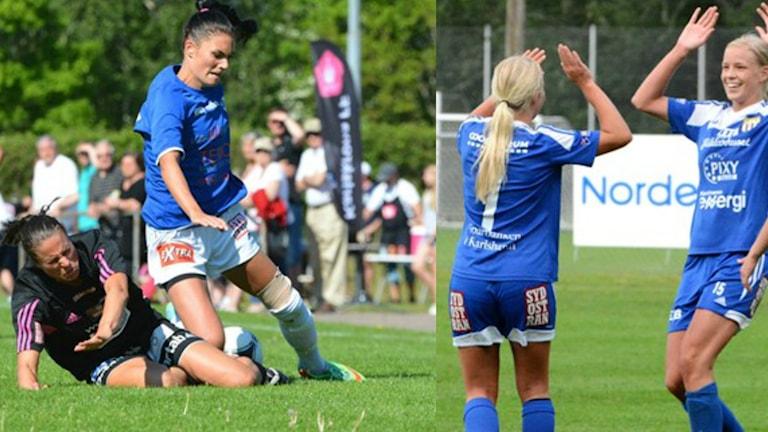 Karlskrona FF, Lörby IF och Asarums damlag i fotboll. Foto: Oscar Anderberg/Sveriges Radio.