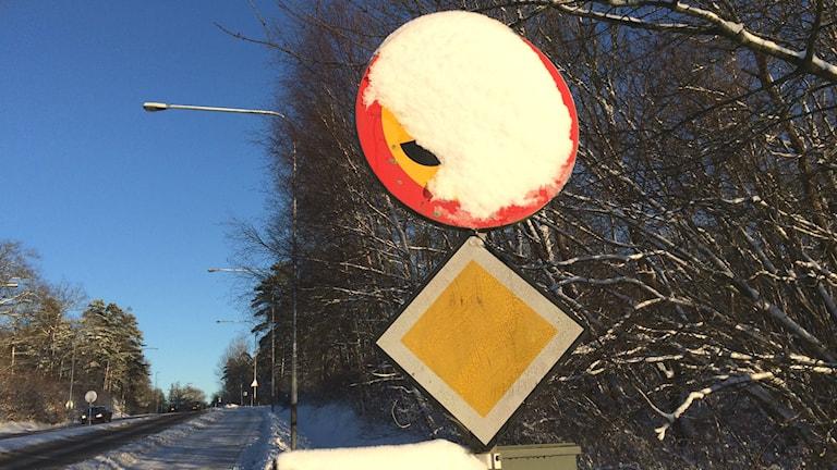 Översnöad trafikskylt där det är omöjligt att läsa vad som står. Foto: Mikael Eriksson/Sveriges Radio