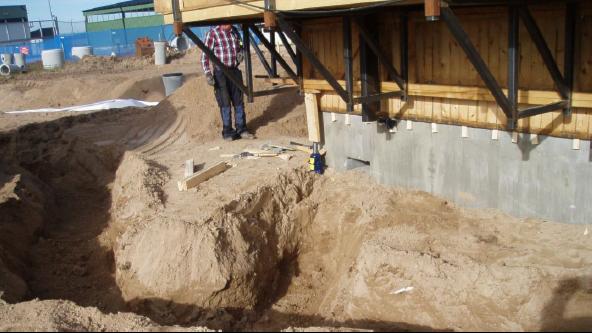 Här har glidformen fastnat i cementen. Foto: WSP
