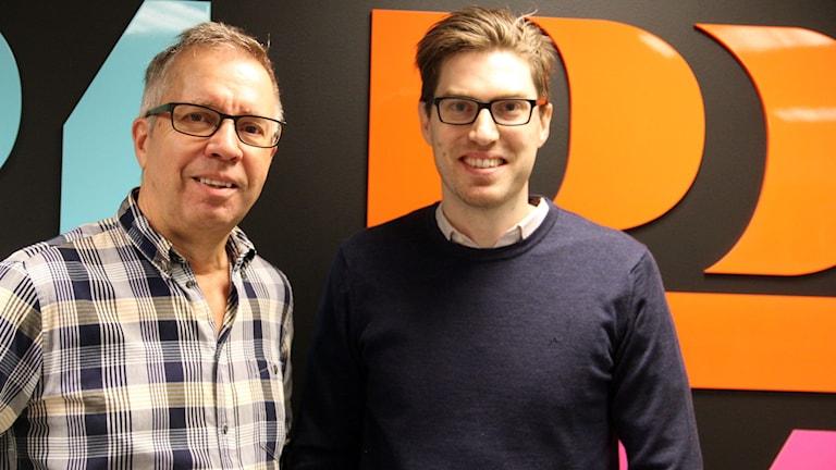 Gunnar Svensson, ansvarig utgivare för Sydöstran och Martin Persson, ansvarig utgivare för 24Blekinge. Foto: Stina Linde/Sveriges Radio.