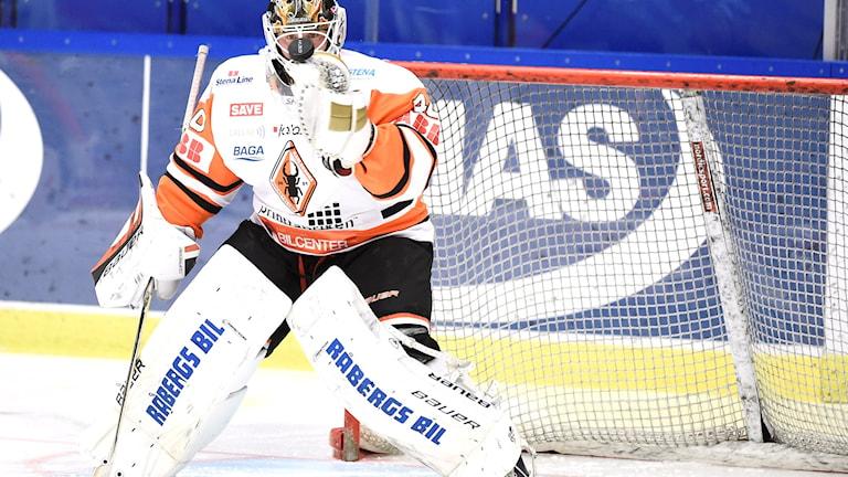 Johan Holmqvist i mål. Foto: Mikael Fritzon / TT
