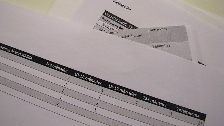 Utdrag ur IVO:s statistik över anmälningar i Blekinge. Foto: Monika Titor/SR