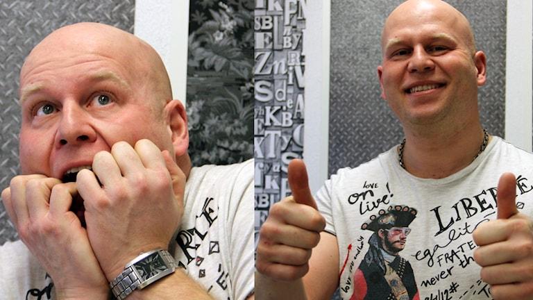 Ett kollage med två bilder på Robert Furlong. Foto: Stina Linde/Sveriges Radio.
