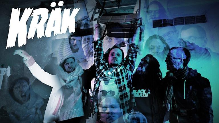 En bild på bandet Kräk och deras logga.