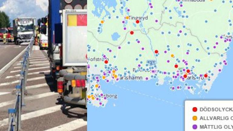 Ett kollage med en bild från en trafikolycka och en karta över var olyckorna inträffade förra året.