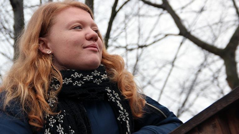 En porträttbild av Nora Blihd som är målvakt i Nättrabys damlag.