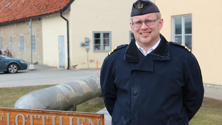 Örlogskapten Erik Dahlström på Första ubåtsflottiljen i Karlskrona.