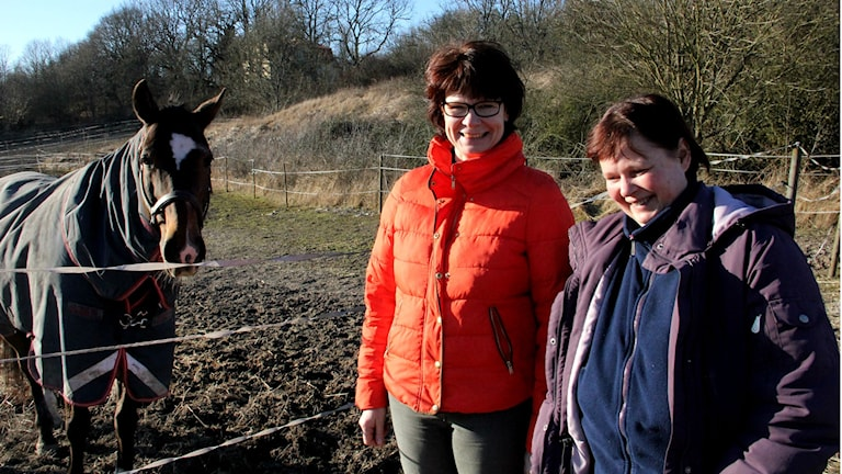 Kersin Goos och Madeleine Winkler står till höger om hästen Maldini.