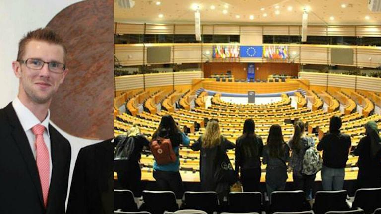 Ett kollage med bilder av Henrik Faming och en skolklass i EU-parlamentet.