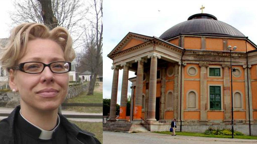 Ett kollage med en bild på kyrkoherde Pamela Garpefors och en bild på trefaldighetskyrkan i Karlskrona.