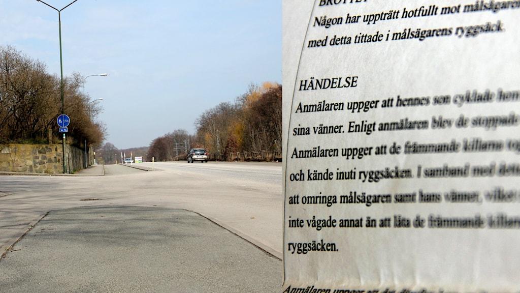 Ett kollage med bilder på Sunnavägen och den polisanmälan som lämnades in.