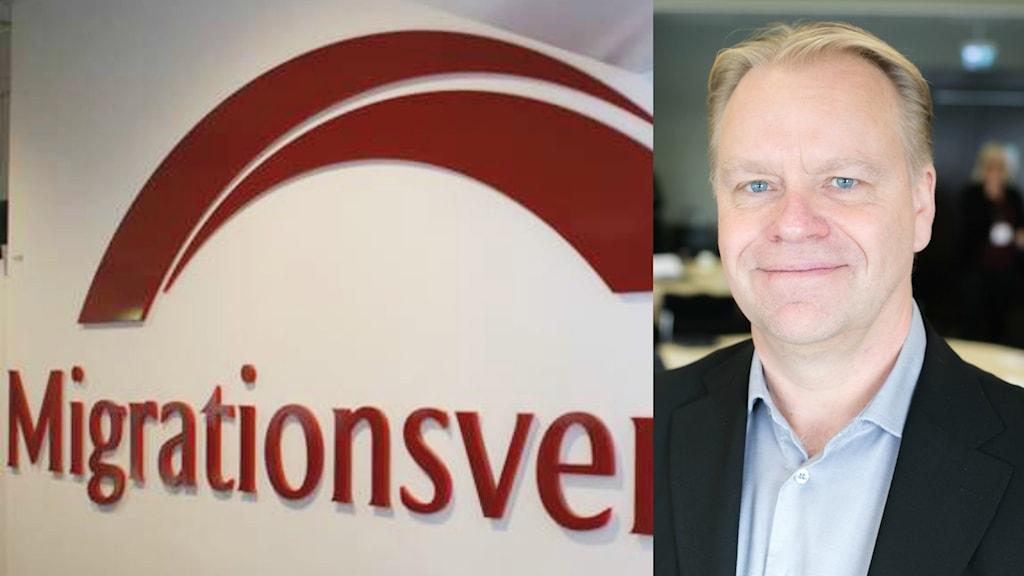 Ett kollage med en bild på Migrationsverkets logga och med sektionschefen Jan Ekdahl.