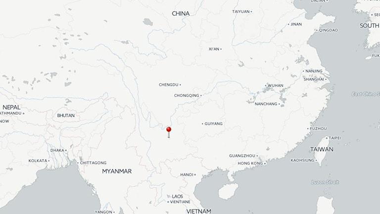 En karta där man ser att provinsen Yunnan ligger i södra Kina och gränsar mot Vietnamn