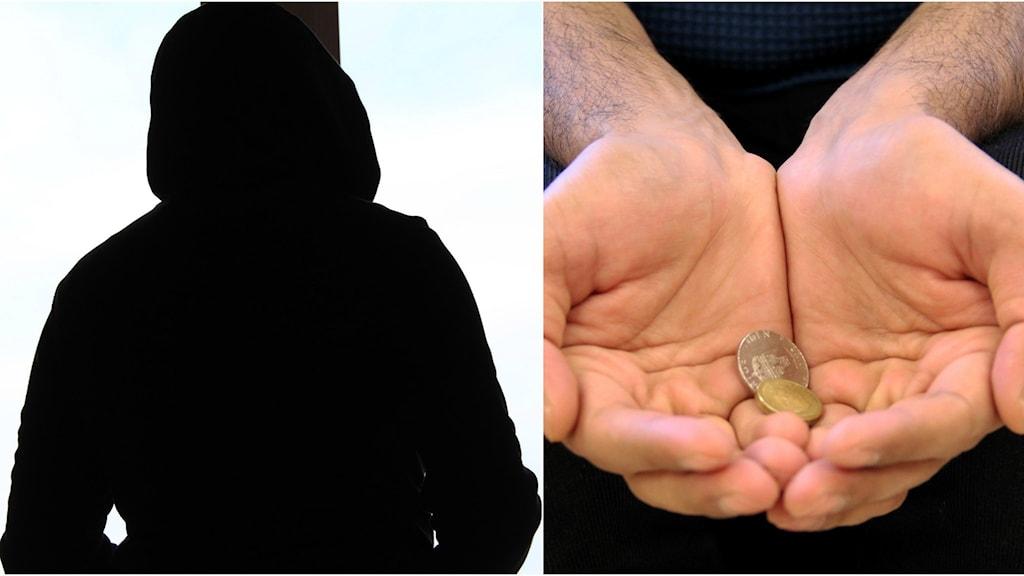 Ett kollage på en anonym kille vid ett fönster och ett par händer som håller upp elva kronor.