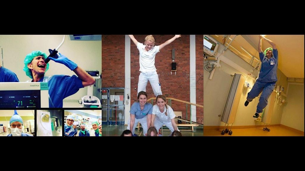 Tre bilder från Landstingets Instagram där de anställda gör akrobatiska rörelser.