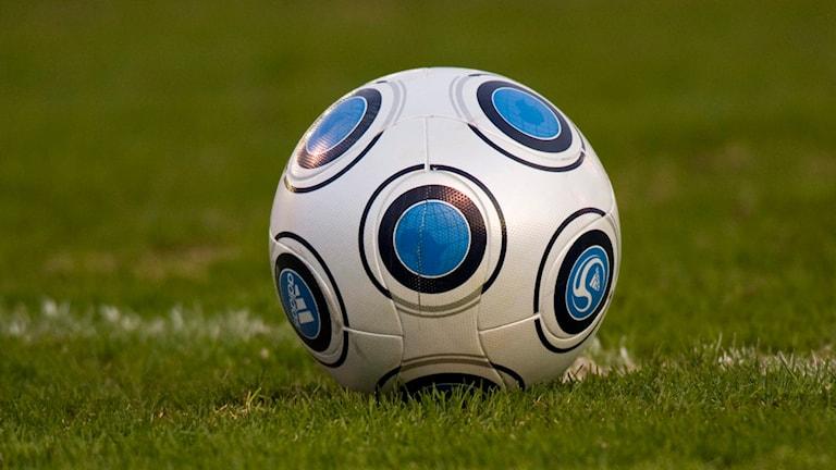 Vitblåmönstrad fotboll på grönt gräs.
