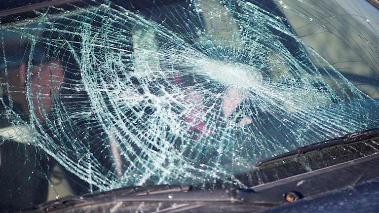 En splittrad framruta på en bil.