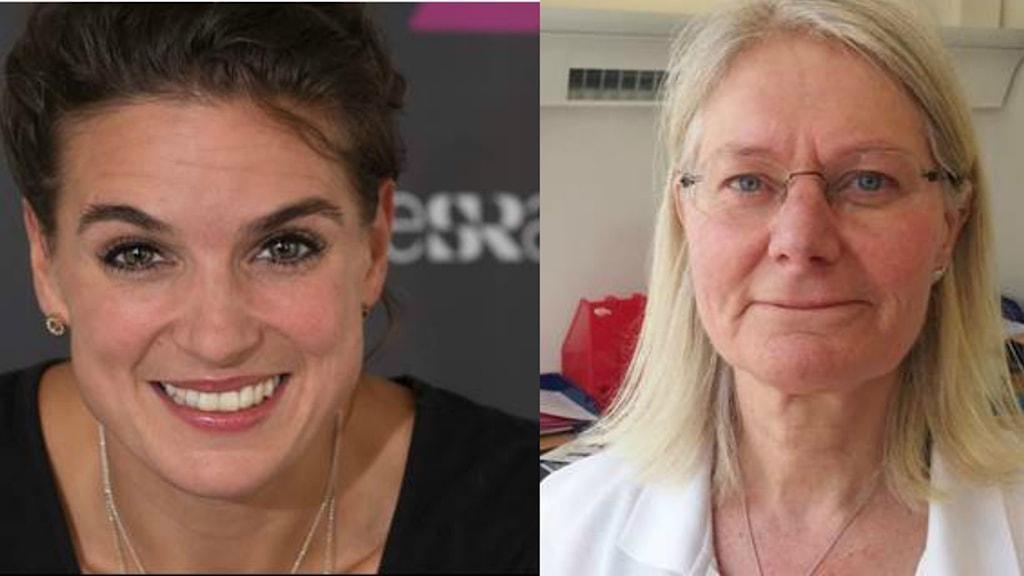 Ett kollage med en bild på friidrottaren Nadja Casadei och en bild på läkaren Lotta Lundgren.