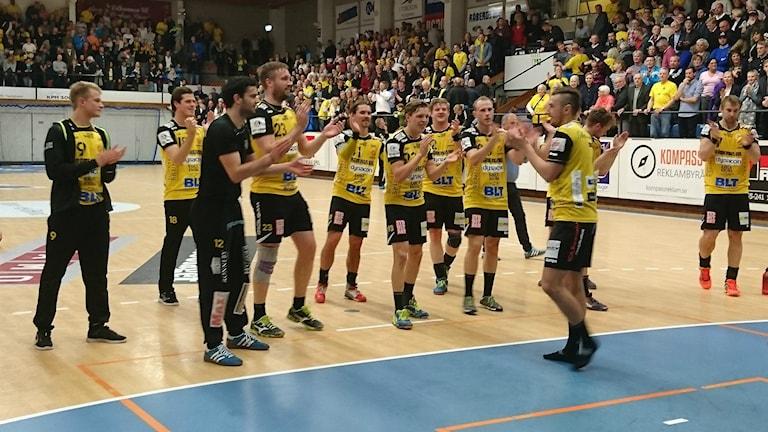 Det var HIF Karlskrona som fick jubla efter den avgörande kvalvinsten mot OV Helsingborg. Foto: Oscar Anderberg/Sveriges Radio