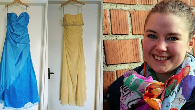 Ett kollage med bilder på två klänningar och en bild på Jonna Axbom