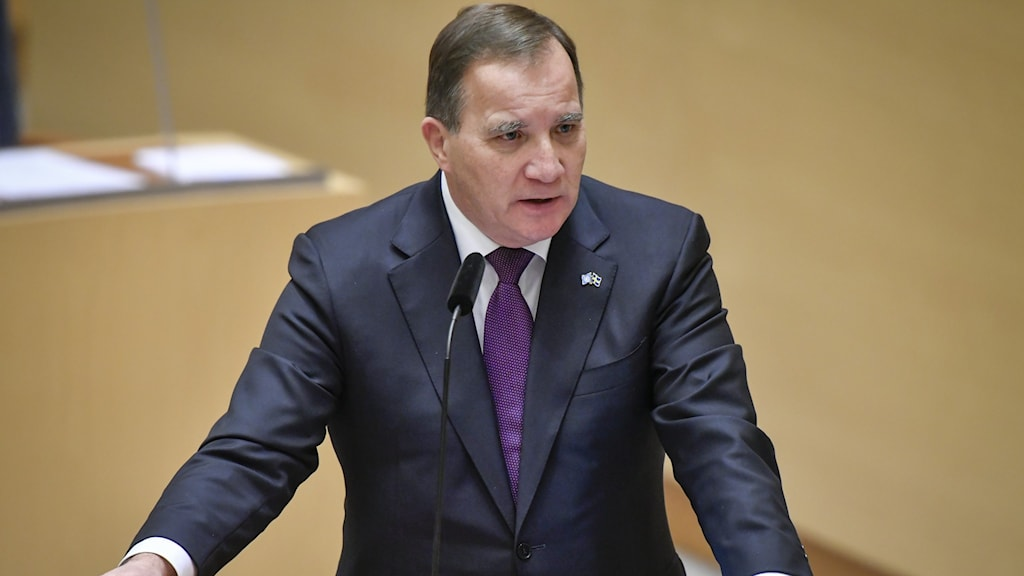 Statsminister Stefan Löfven (S) under torsdagens frågestund i riksdagen.