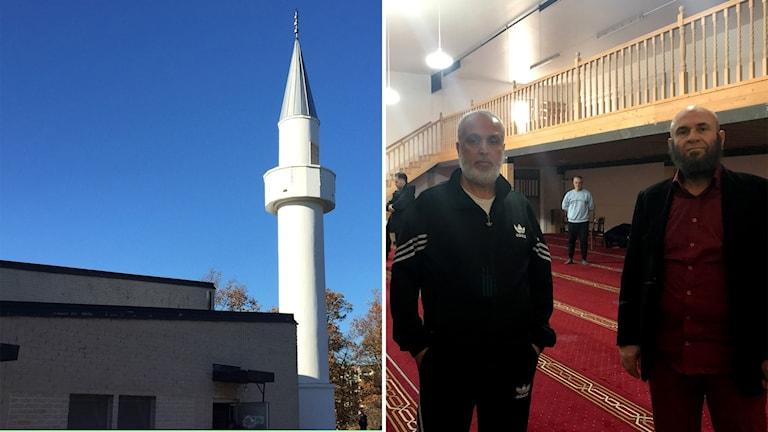 En bild på moskén i Karlskrona samt på Abboud Sleiman och Ahmad Taleb.