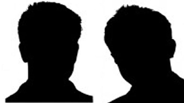 Silhuetten av två lika manspersoner