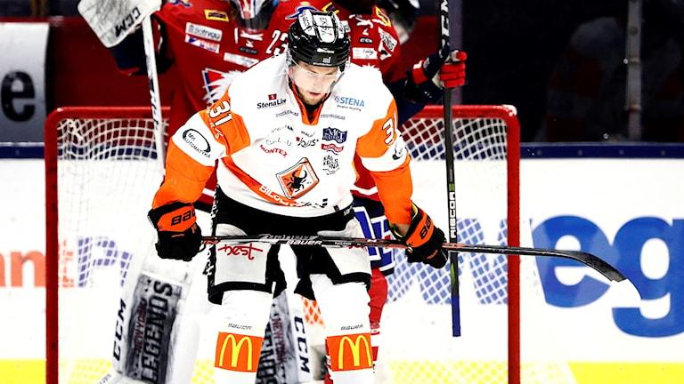 Karlskronas Marcus Paulsson har just missat en bra målchans i söndagens ishockeymatch i SHL