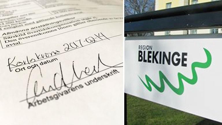 Skylt för Region Blekinge och ett kontrakt underskrivet gällande en av dessa rekryteringar.