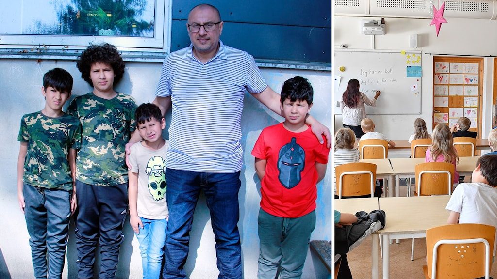 Familjen bestående av Adam Baroud, Yousif Baroud, Rayan Baroud, Rafaat Baroud(pappa) och Elias Baroud står vid en husvägg.