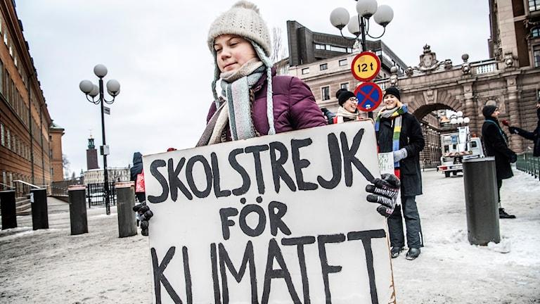 Greta Thunberg var först att skolstrejk för klimatet.