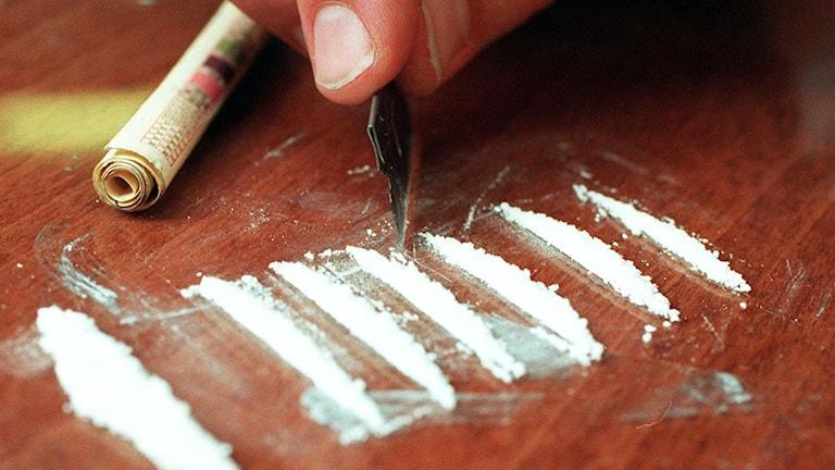 En hand som gör linor av vitt pulver på ett bord.