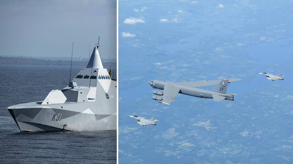 Visbykorvetten och plan ur flygvapnet.