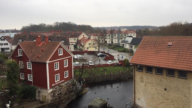 En bild på Ronneby stad, tagen snett ovanifrån.