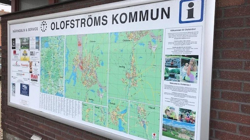 Olofström. Skylt.