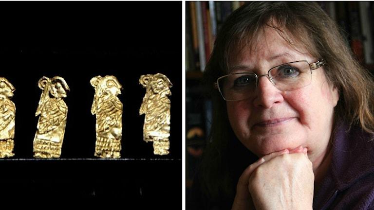 Närbild på en små guldgubbar och på en kvinna med glasögon.