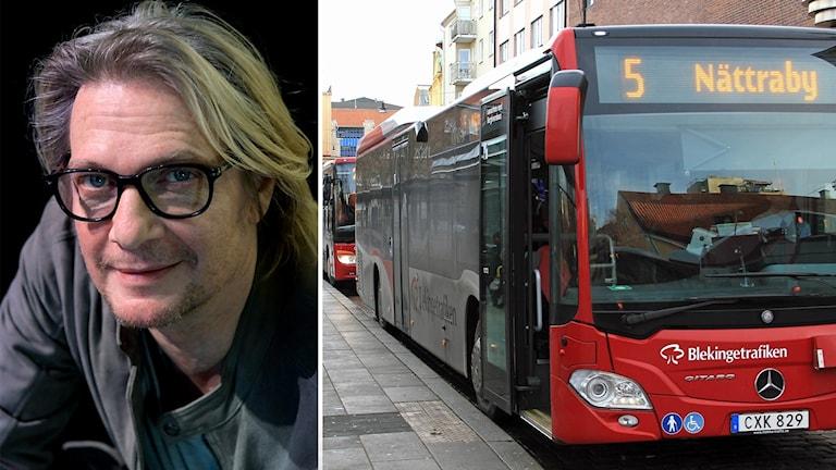 Tommy Nilsson och en buss från Blekingetrafiken.
