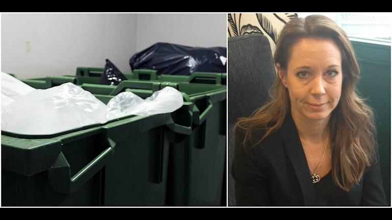 Två bilder, en på Anna Wallin och en på en grön soptunna.